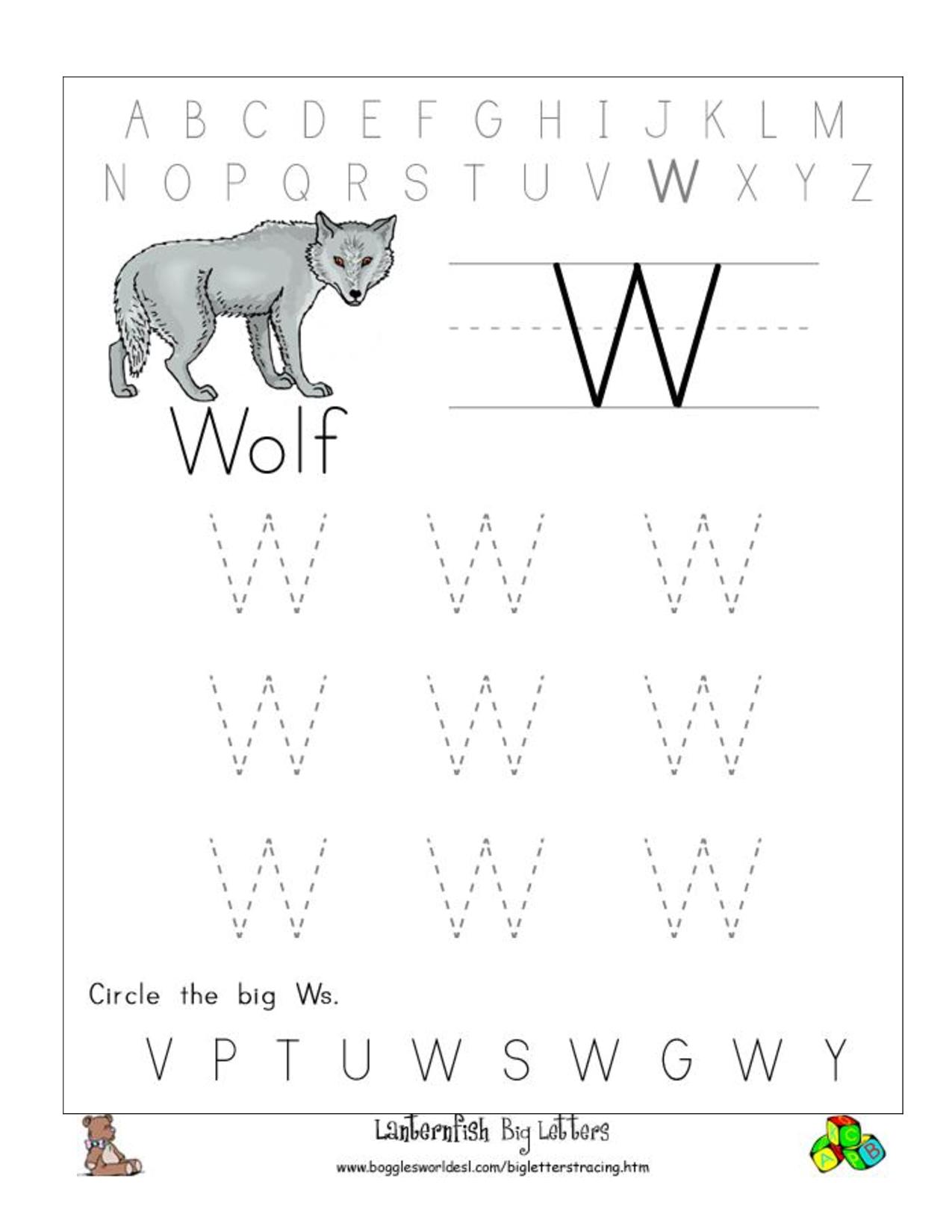 Big W Tracing Worksheet Doc .. | Tracing Worksheets Preschool