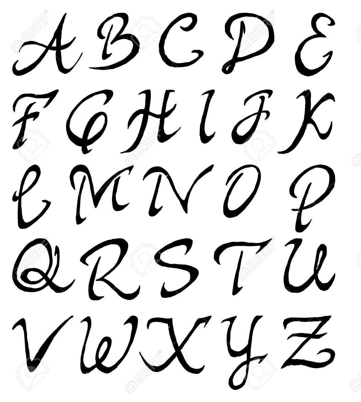 Black Fonts Hand Made Tracing From Sketch Vector Illustration