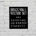Brick Traced Texture, Stencil Alphabet And Grunge Rectangle