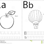 Cartoon Apple And Balloon. Alphabet Tracing Worksheet