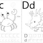 Cartoon Crab And Dinosaur. Alphabet Tracing Worksheet: Writing..