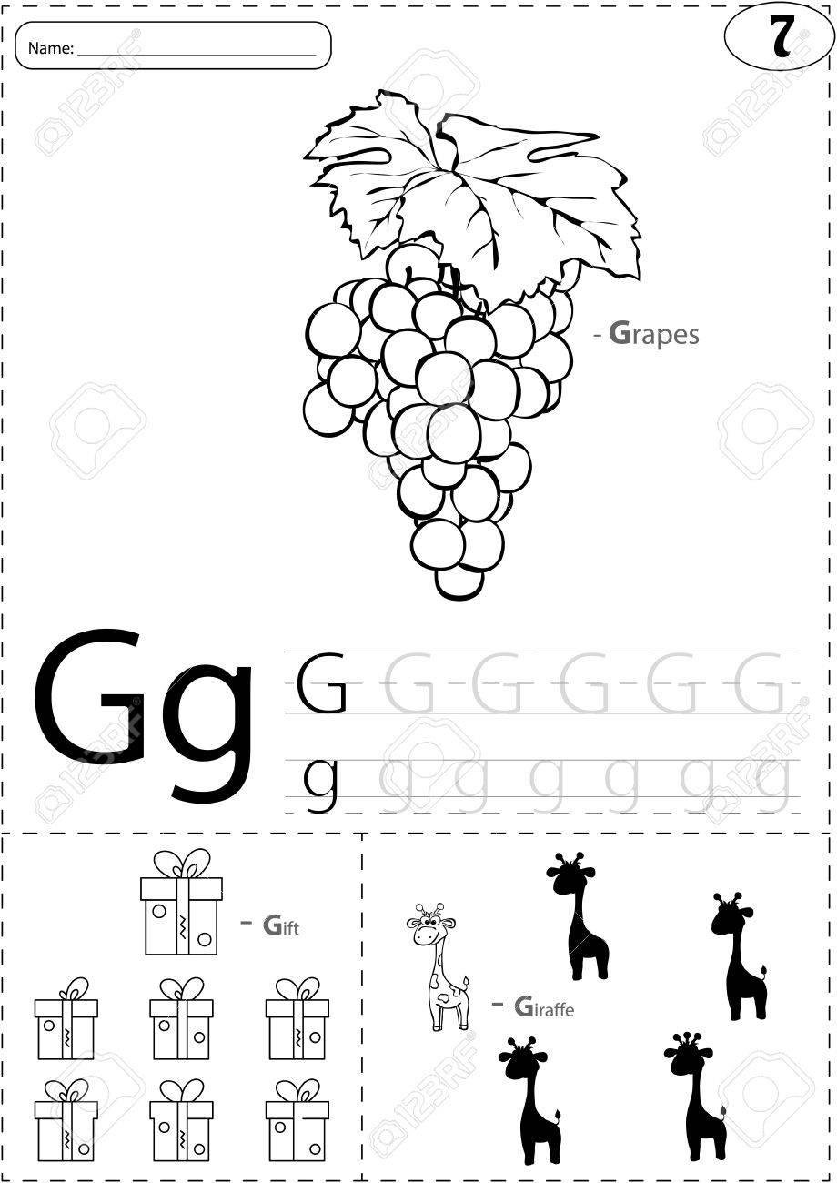 Cartoon Grapes, Gift And Giraffe. Alphabet Tracing Worksheet:..