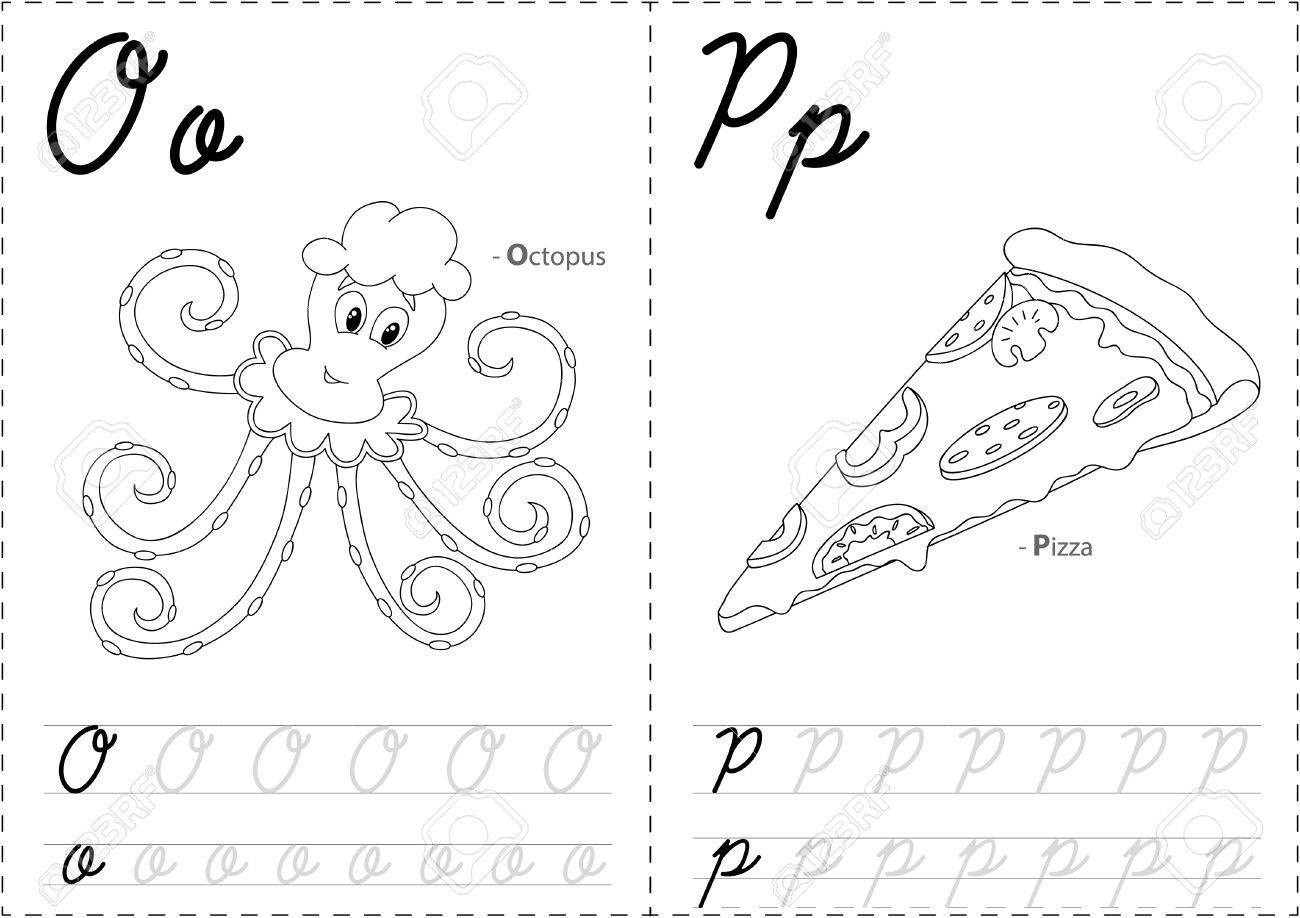 Cartoon Octopus And Pizza. Alphabet Tracing Worksheet: Writing..