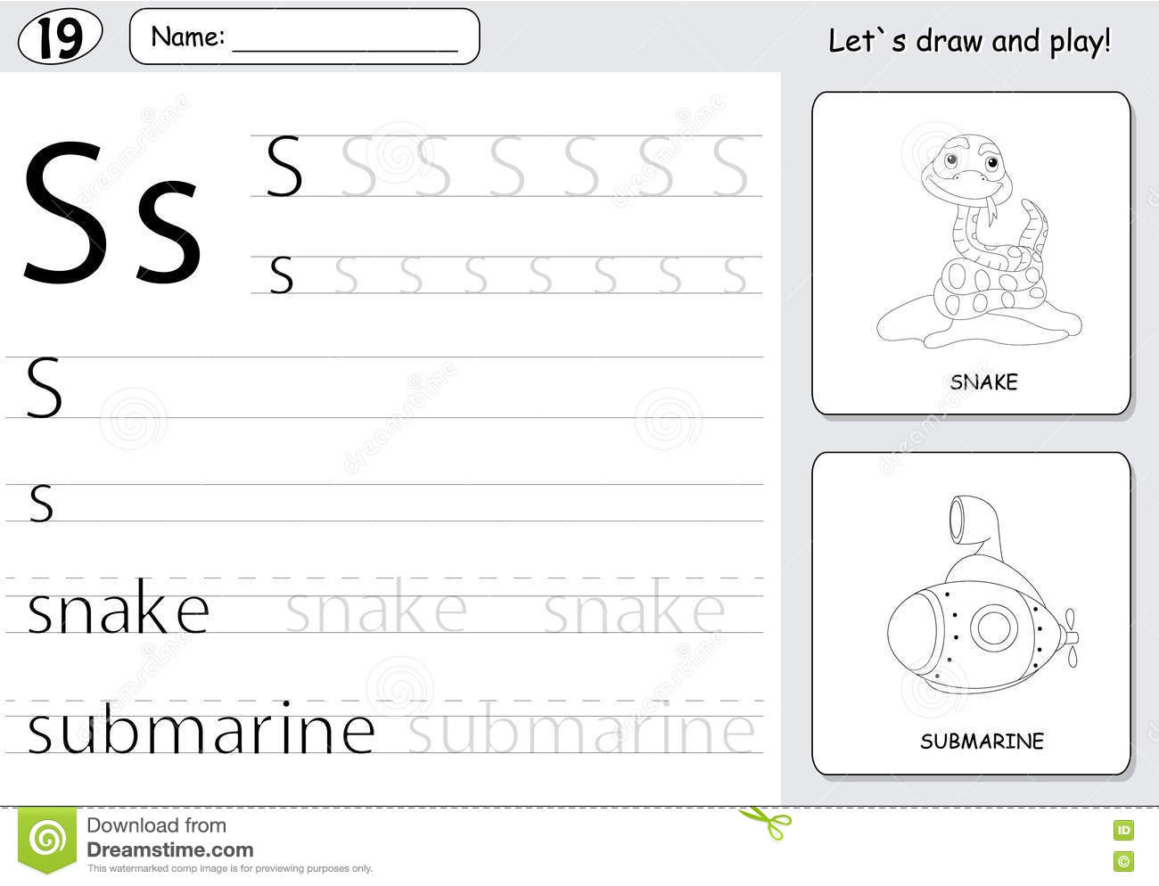 Cartoon Snake And Submarine. Alphabet Tracing Worksheet