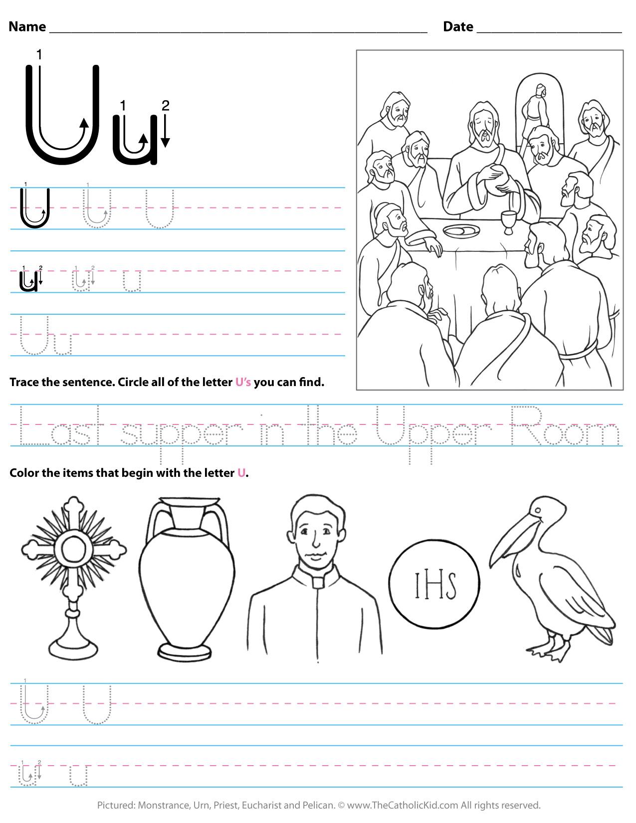 Catholic Alphabet Letter U Worksheet Preschool Kindergarten