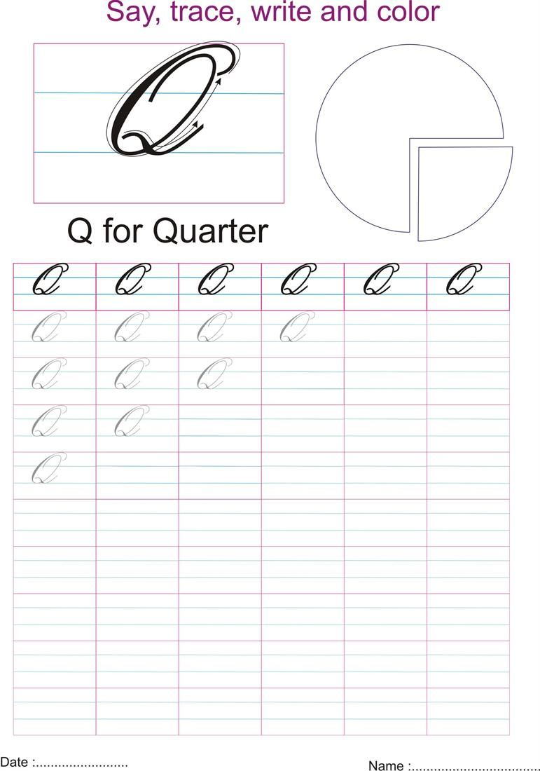 Cursive Captial Letter Q Worksheet | Letter Q Worksheets