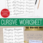 Cursive Name Writing Worksheet, Editable Script Handwriting