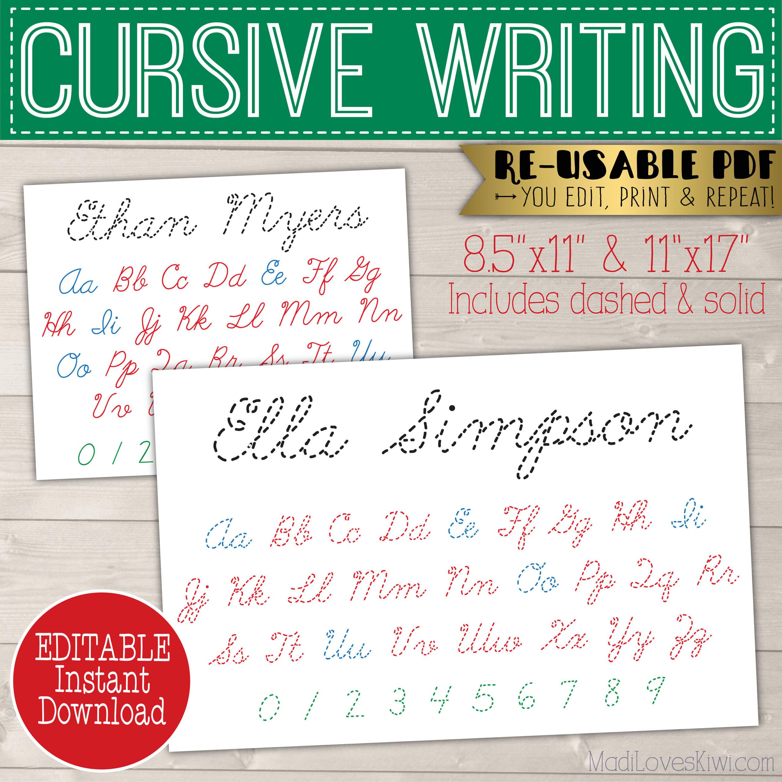 Cursive Name Writing Worksheet, Printable Handwriting Copywork, Script  Alphabet Tracing Activities Number Practice Mat Montessori Homeschool