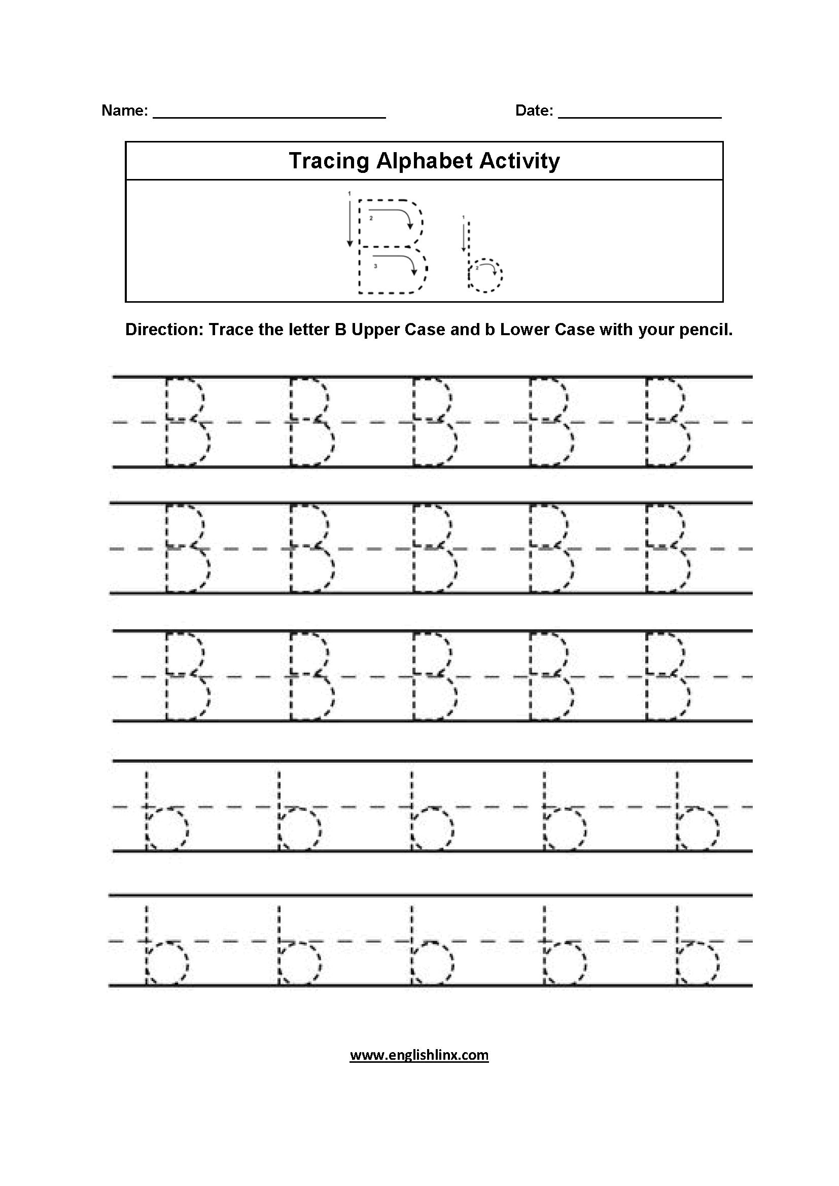 Cursive Writing Letter B Tracing Worksheet | Printable