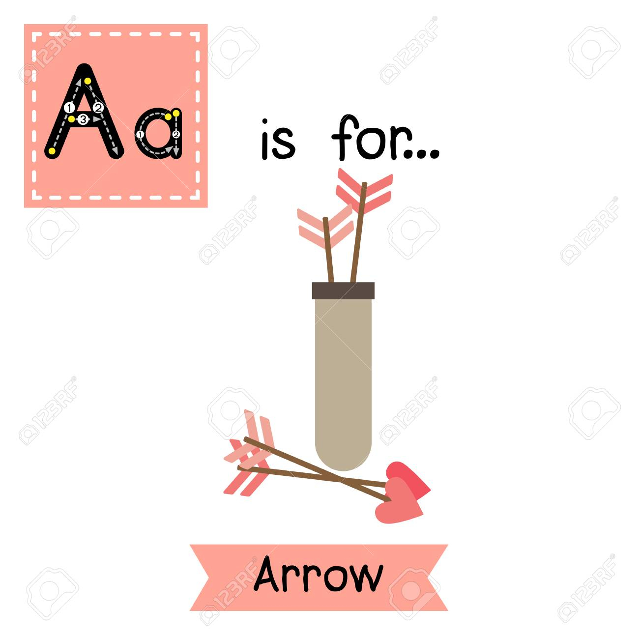 Cute Children Abc Alphabet A Letter Tracing Flashcard Of Arrow..