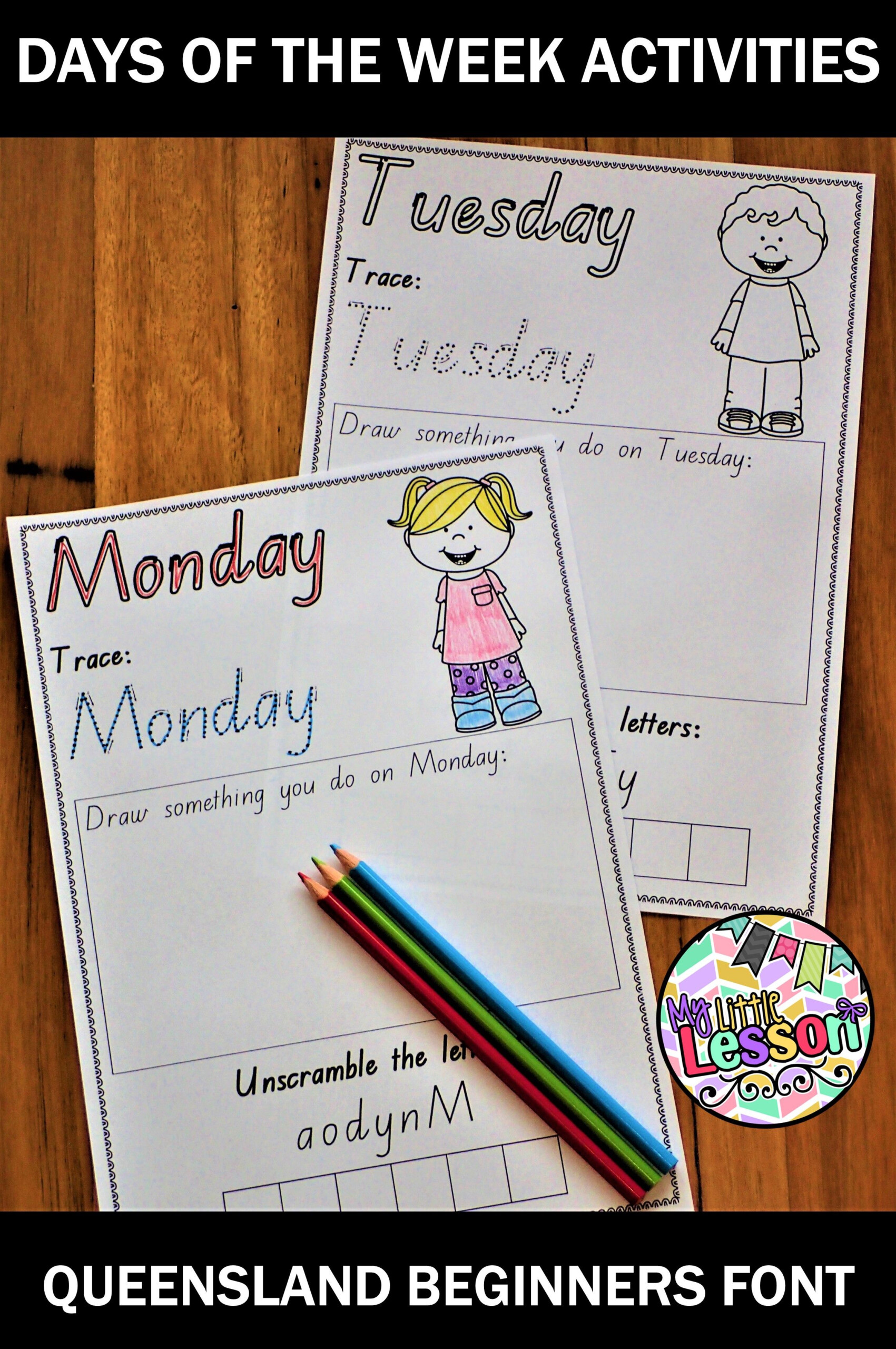 Days Of The Week Worksheets Qld Beginners Font (With Images