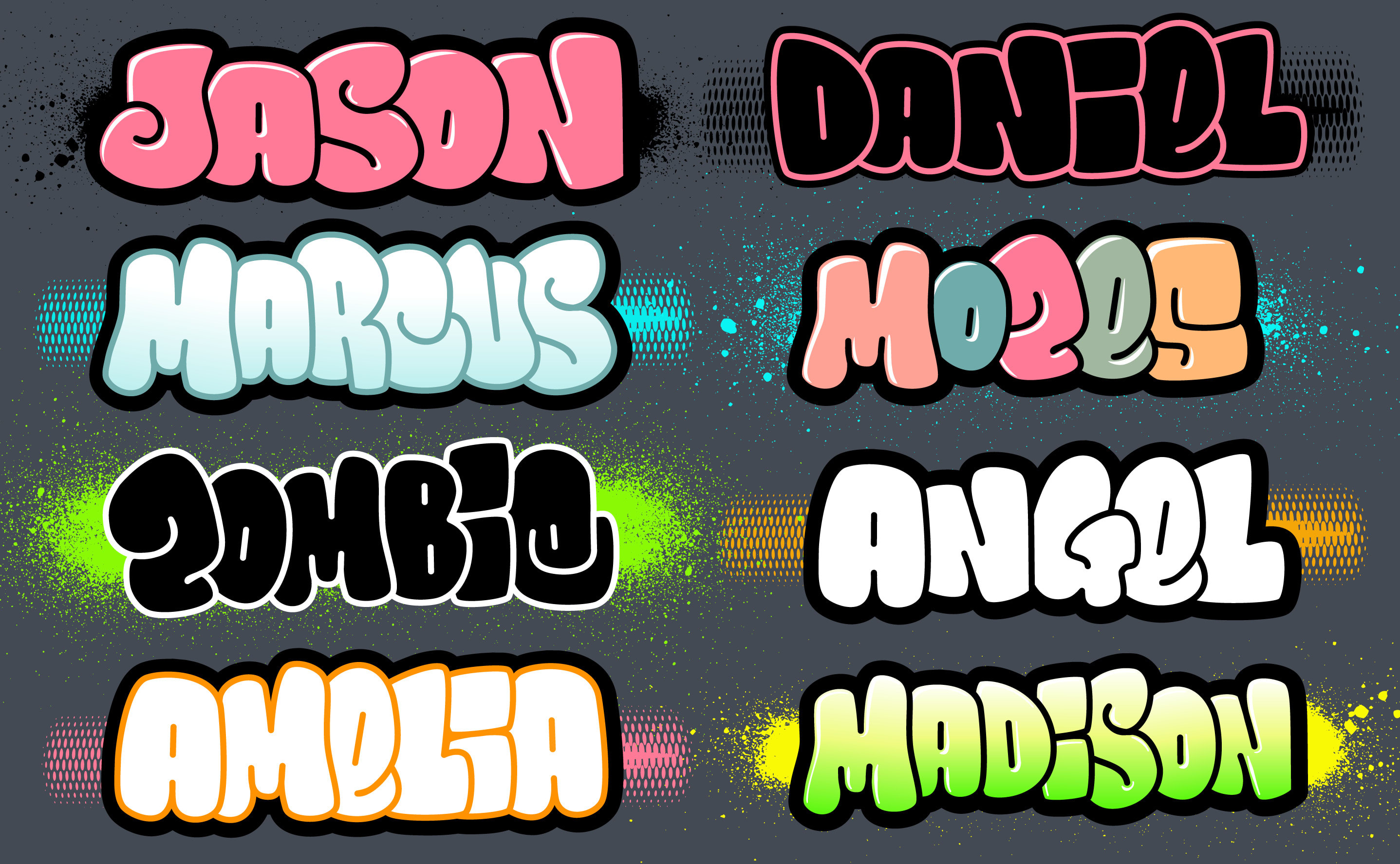 Design A Text,name Or Logo In Bubble Graffiti Fonts