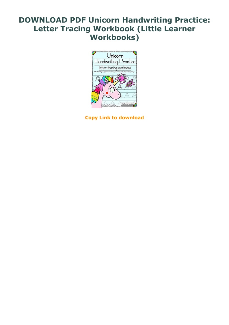 Download Pdf Unicorn Handwriting Practice: Letter Tracing