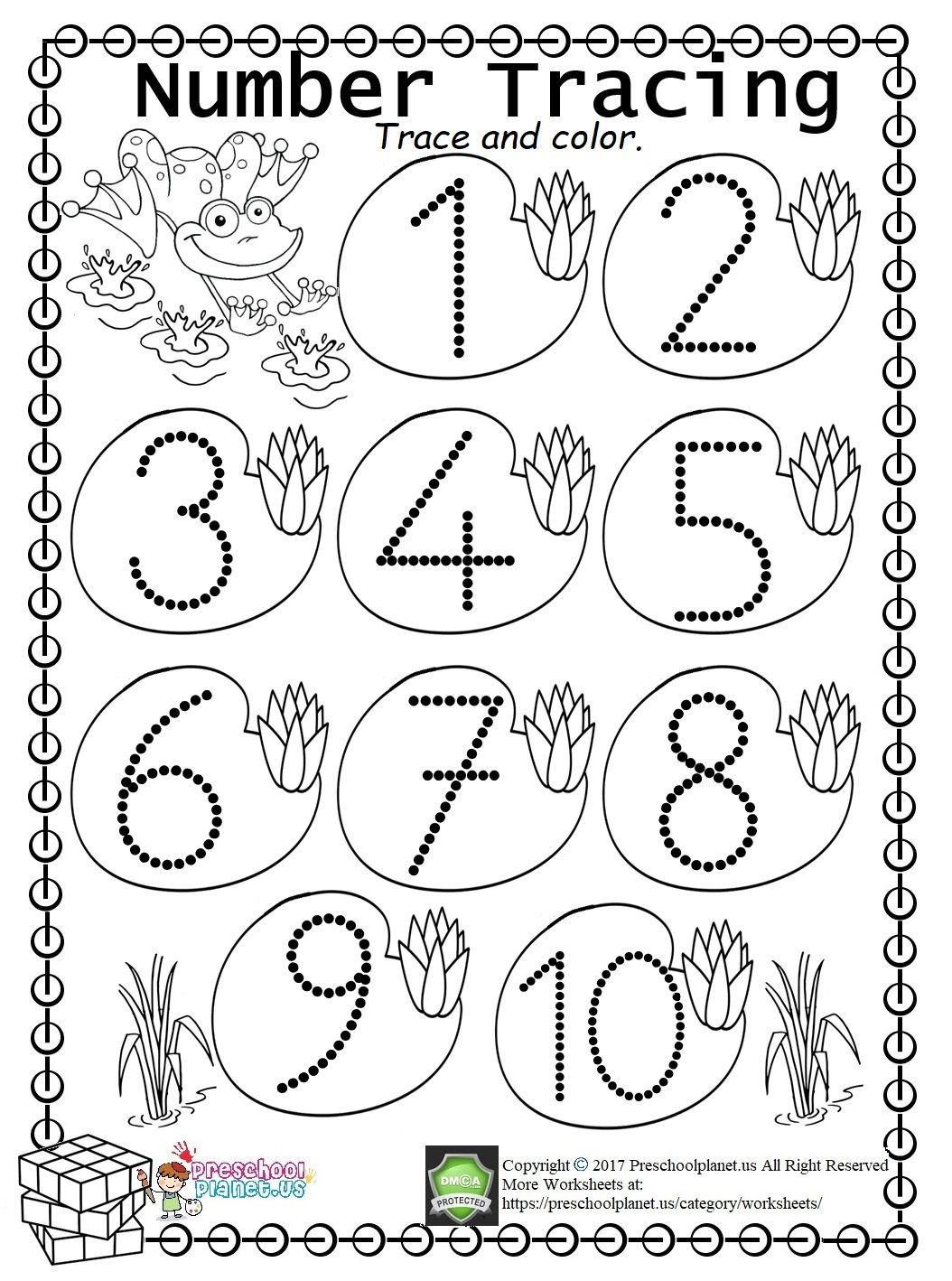 Easy Number Trace Worksheet Tracing Numbers First Week Of