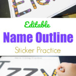 Editable Name Outline Sticker Practice - Create Printables