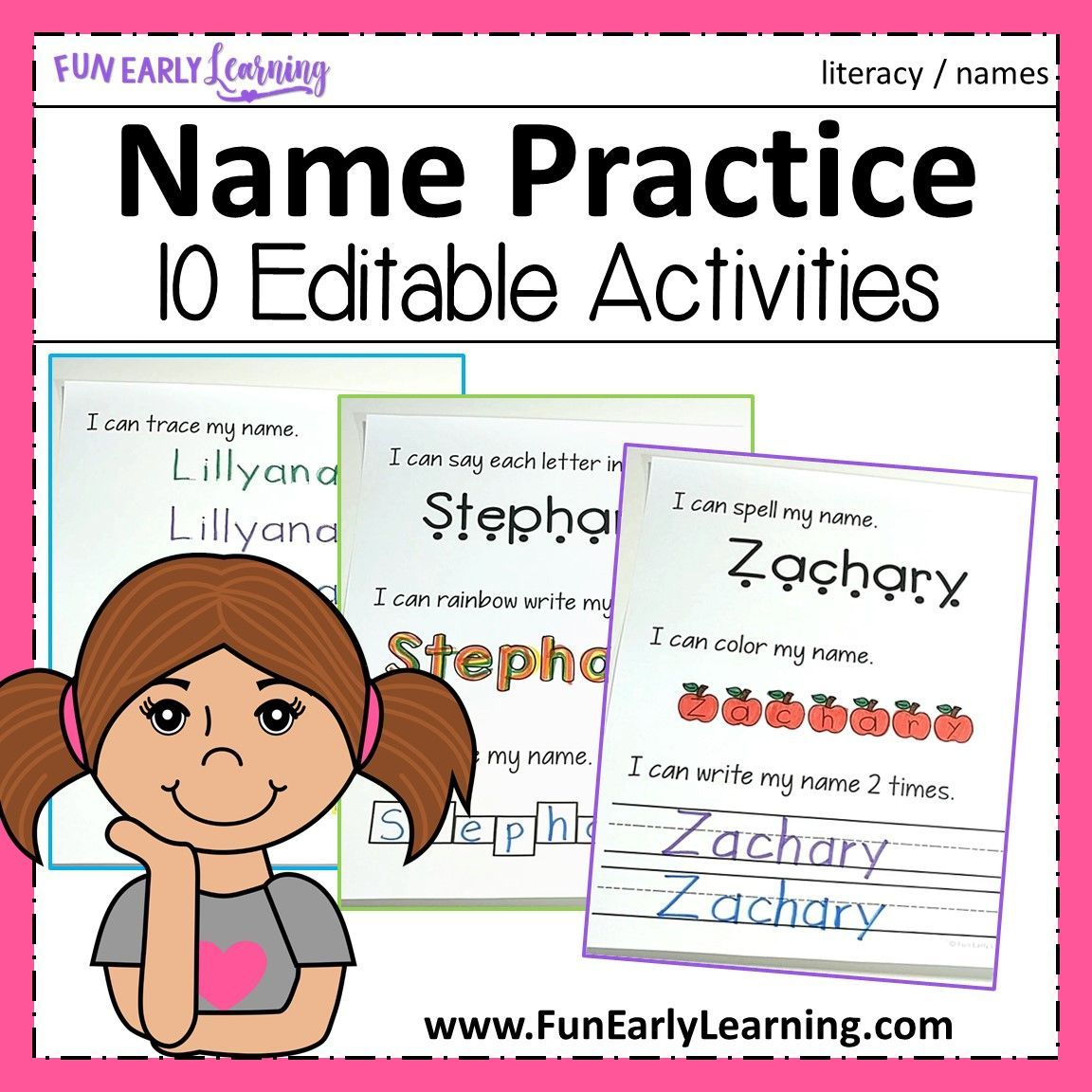 Editable Name Practice | Name Practice, Letter Activities