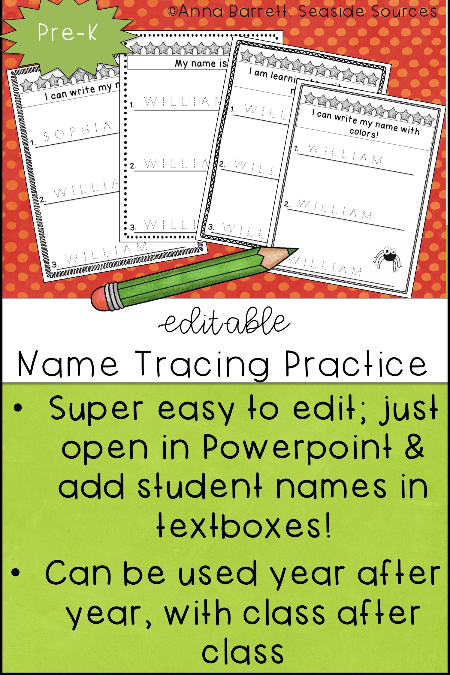 Editable Name Practice (With Images) | Name Writing Practice