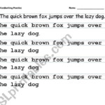 English Worksheets: Handwriting Practice (Tracing All