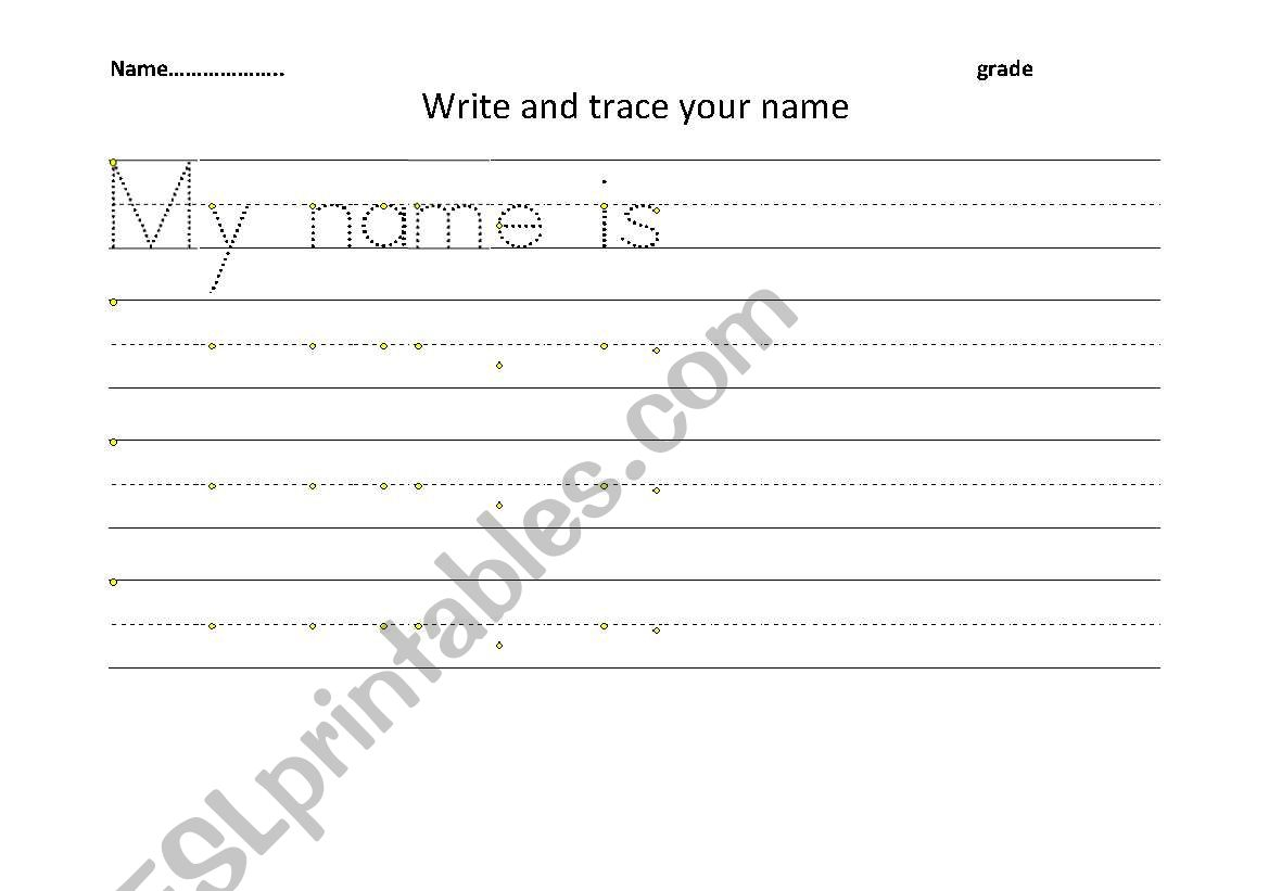 English Worksheets: Write And Trace Your Name