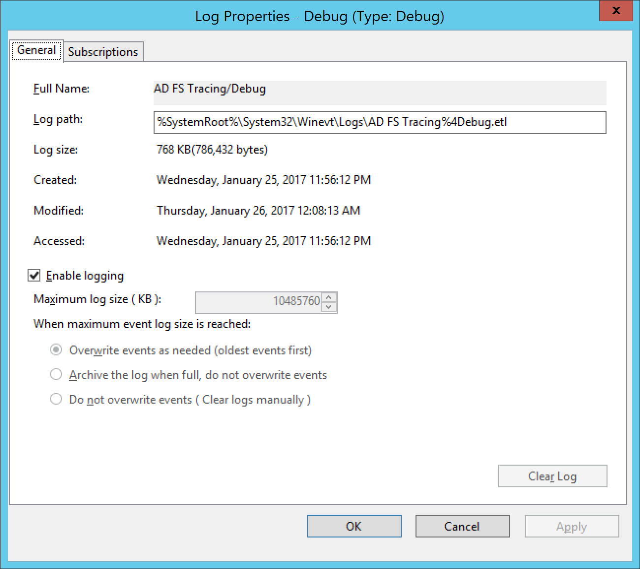 Event Viewer – Ad Fs Tracing – Debug – Debug Logs