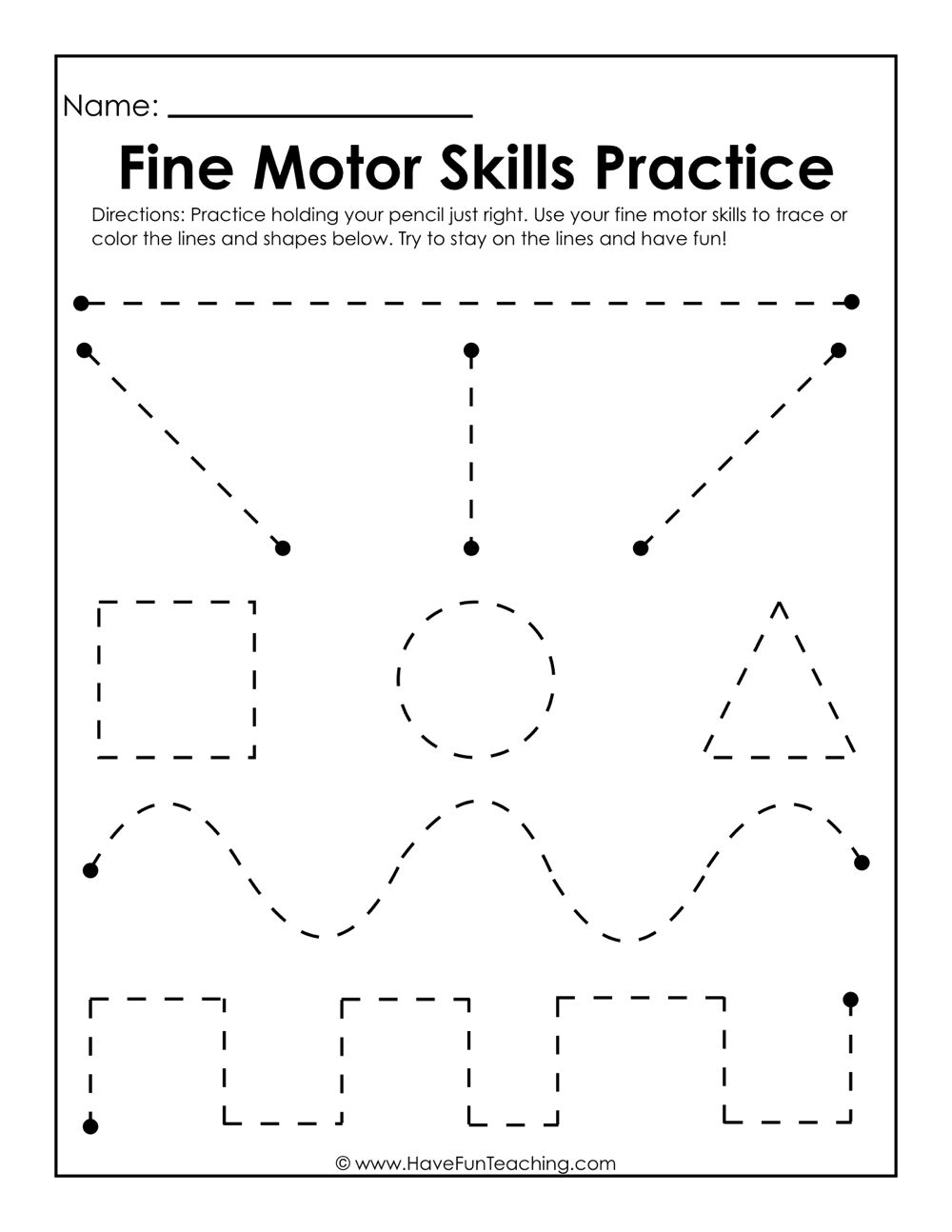 Fine Motor Skills Practice Worksheet | Writing Practice