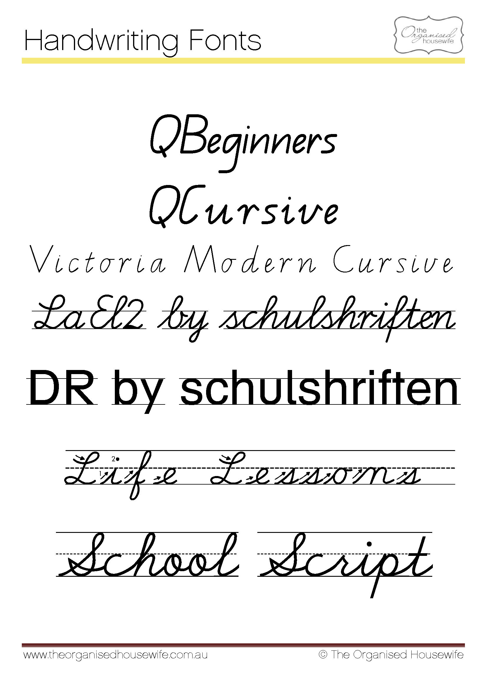 Fonts To Help Kids To Write + Qld Cursive - The Organised