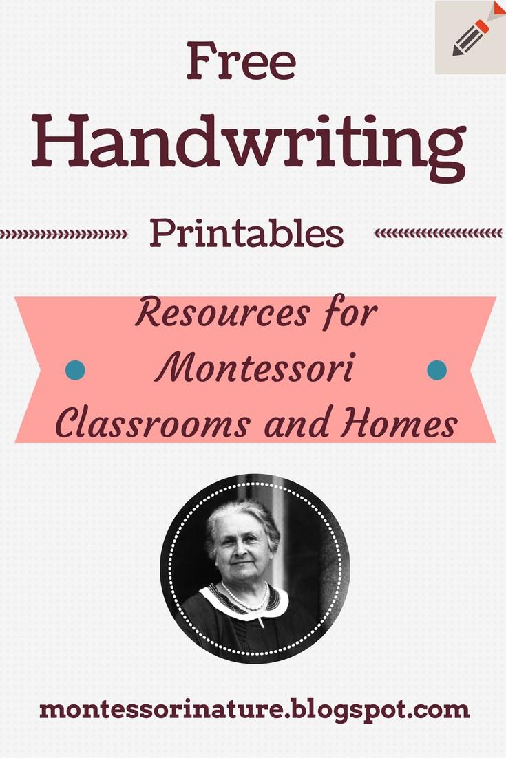 Free Handwriting Printables. | Montessori Nature