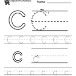 Free Letter C Alphabet Learning Worksheet For Preschool
