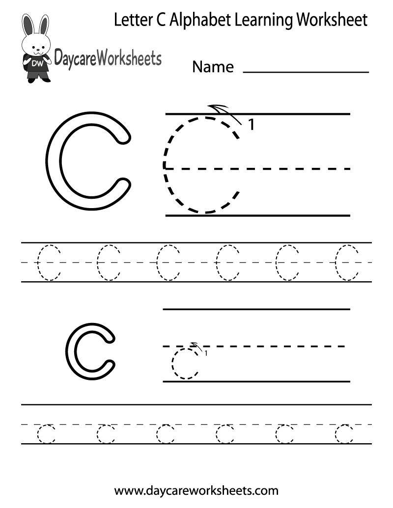 Free Letter C Alphabet Learning Worksheet For Preschool
