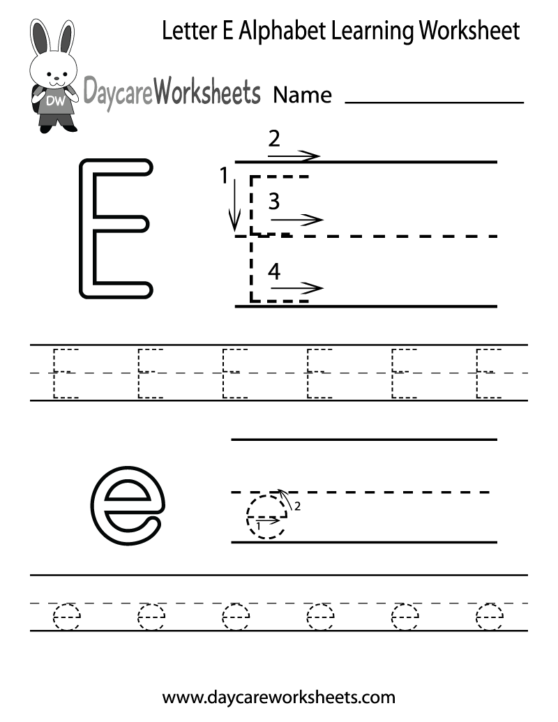 Free Letter E Alphabet Learning Worksheet For Preschool