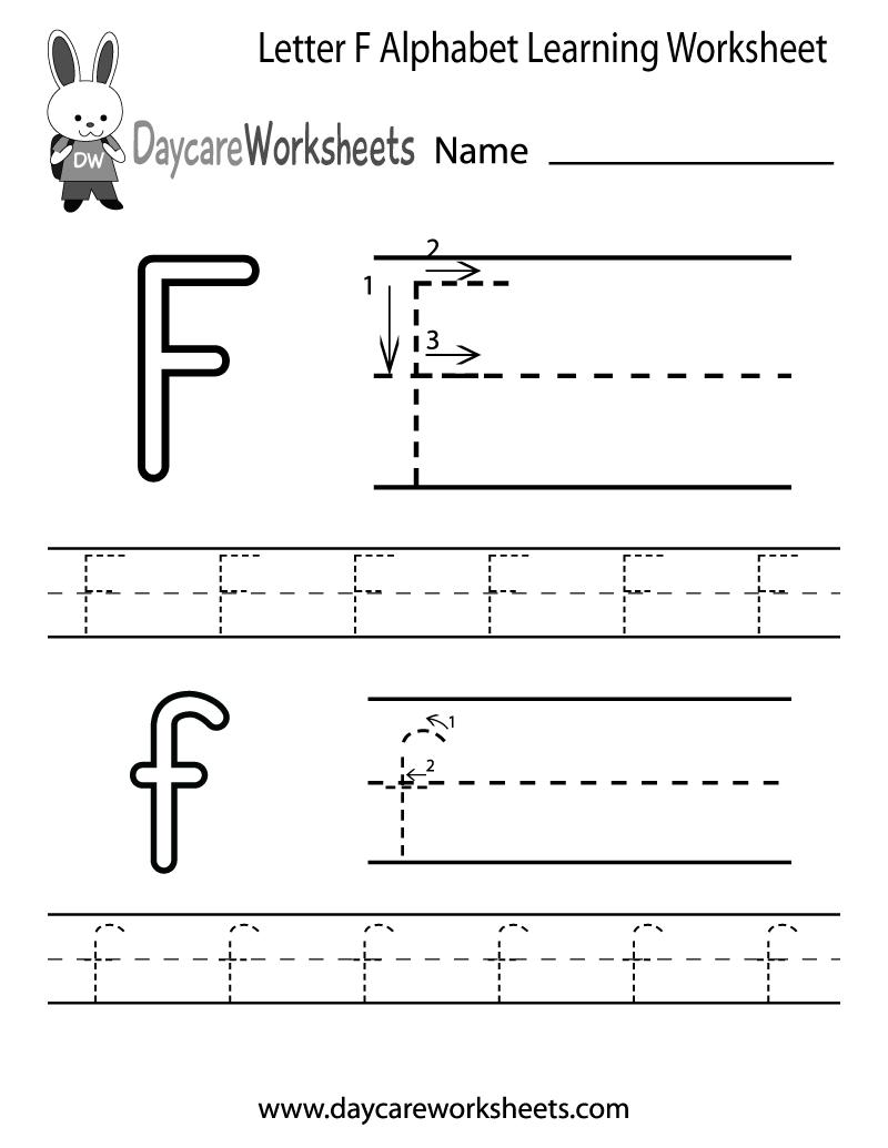 Free Letter F Alphabet Learning Worksheet For Preschool