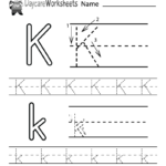 Free Letter K Alphabet Learning Worksheet For Preschool
