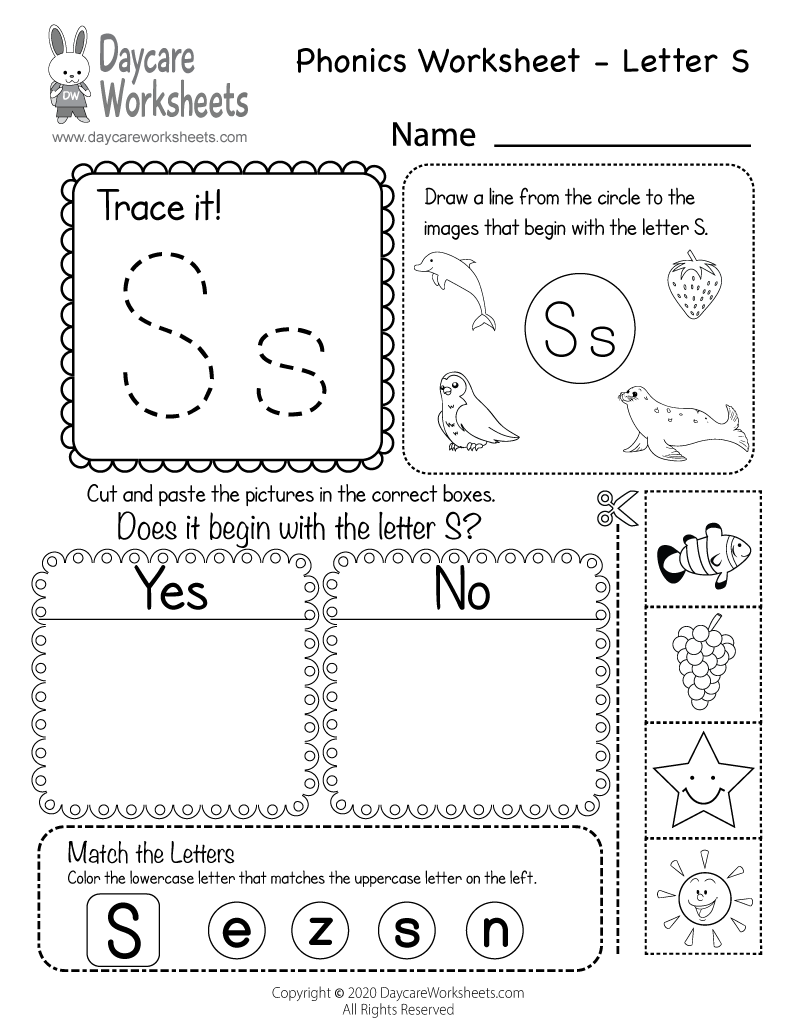 Free Letter S Phonics Worksheet For Preschool - Beginning Sounds