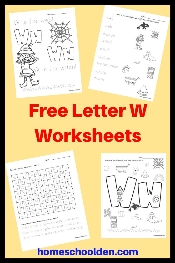 Free Letter W Worksheets | Letter W Activities, Free