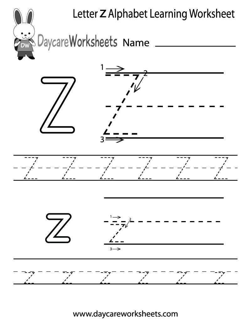 Free Letter Z Alphabet Learning Worksheet For Preschool