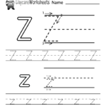 Free Letter Z Alphabet Learning Worksheet For Preschool