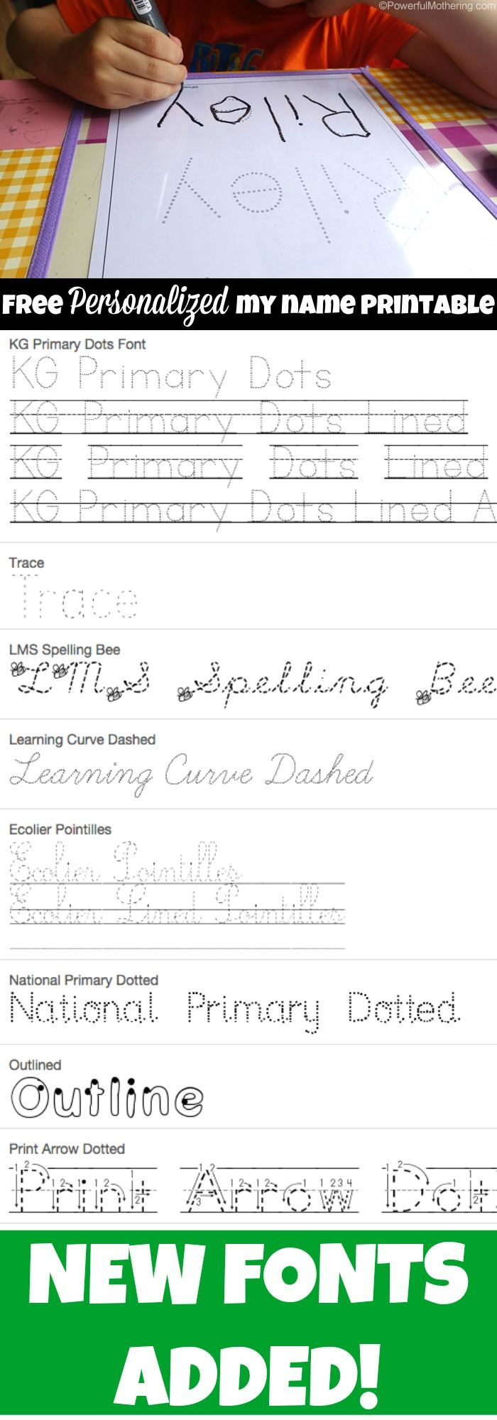 Free Name Tracing Worksheet Printable + Font Choices (With