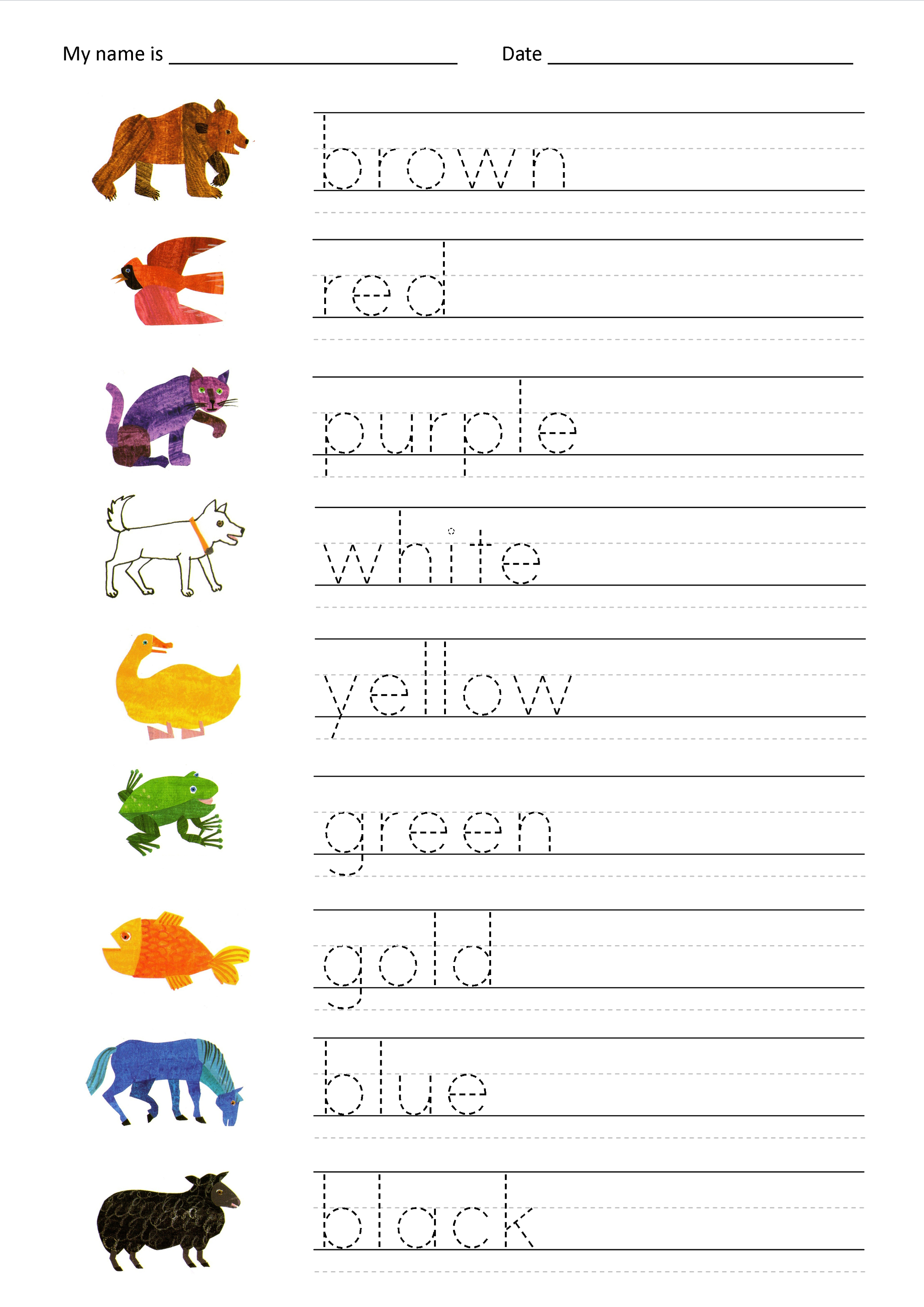 Free Name Tracing Worksheets Pictures - Activities Free