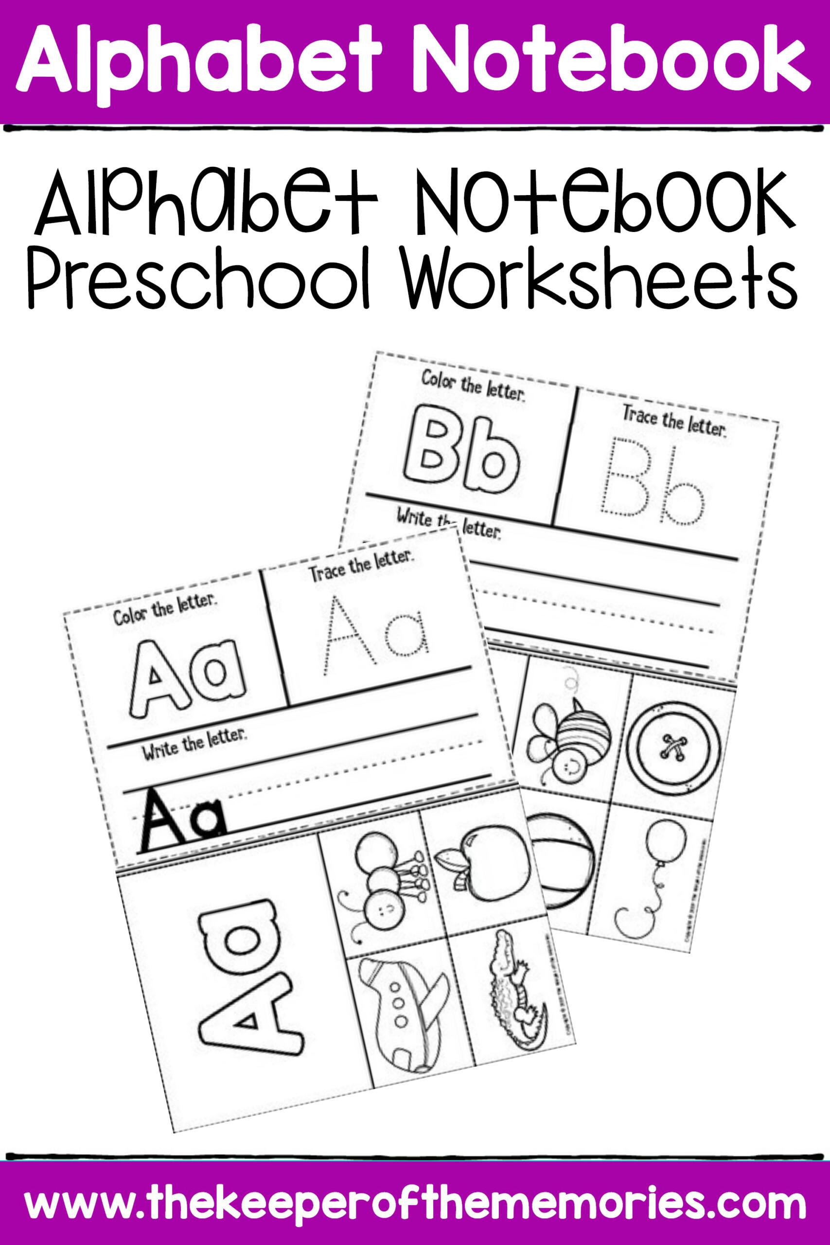 Free Printable Alphabet Notebook Preschool Worksheets
