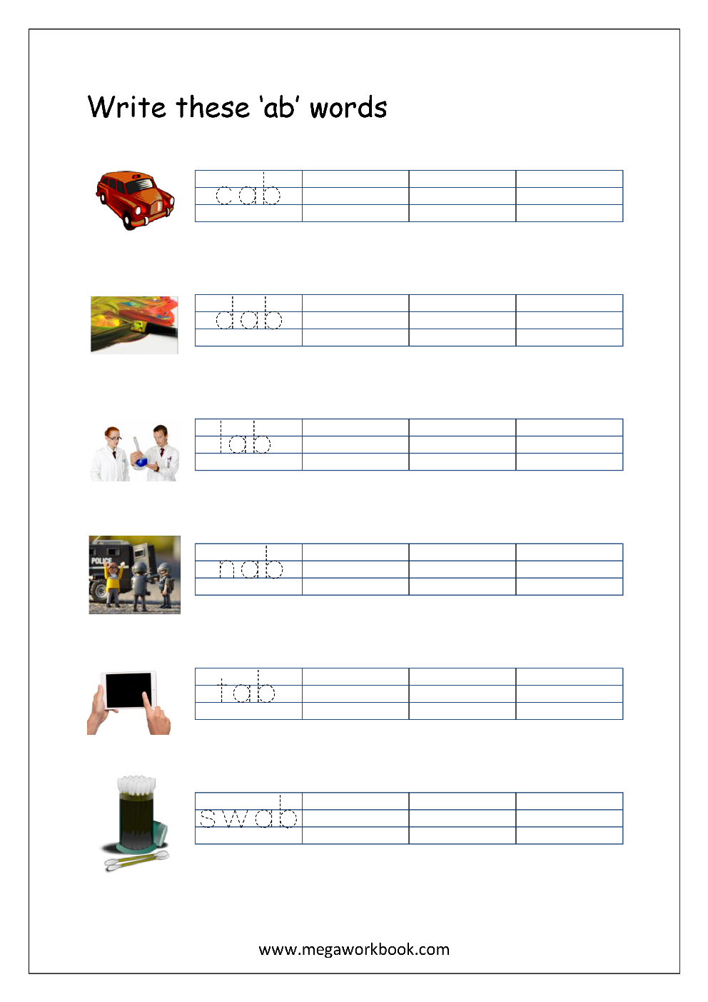 Free Printable Cvc Words Writing Worksheets For Kids - Three