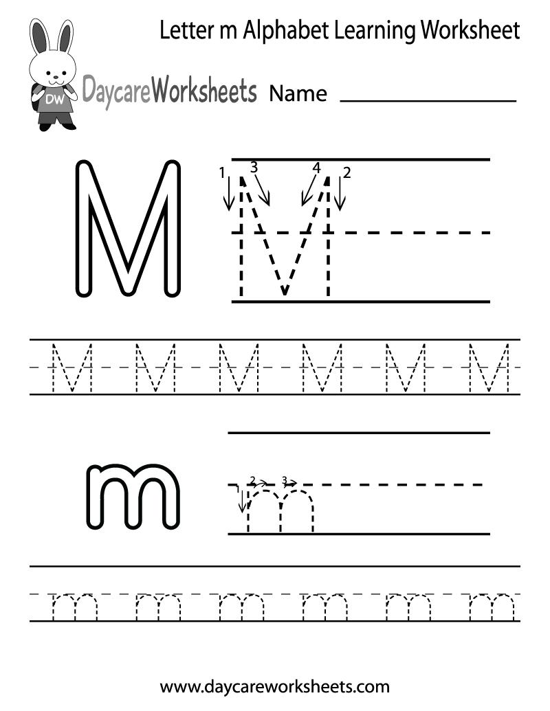 Free Printable Letter M Alphabet Learning Worksheet For