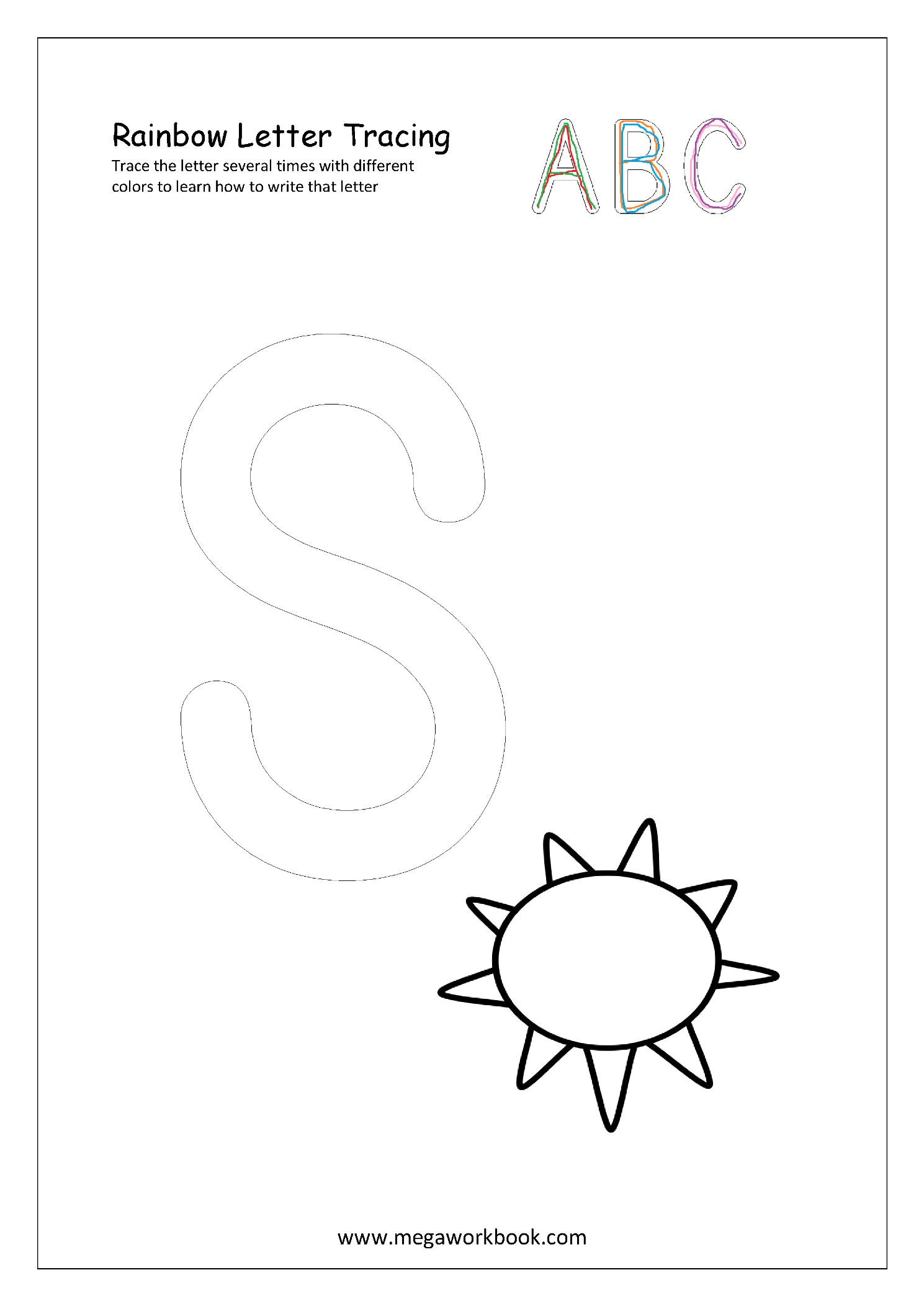 Free Printable Rainbow Writing Worksheets - Rainbow Letter