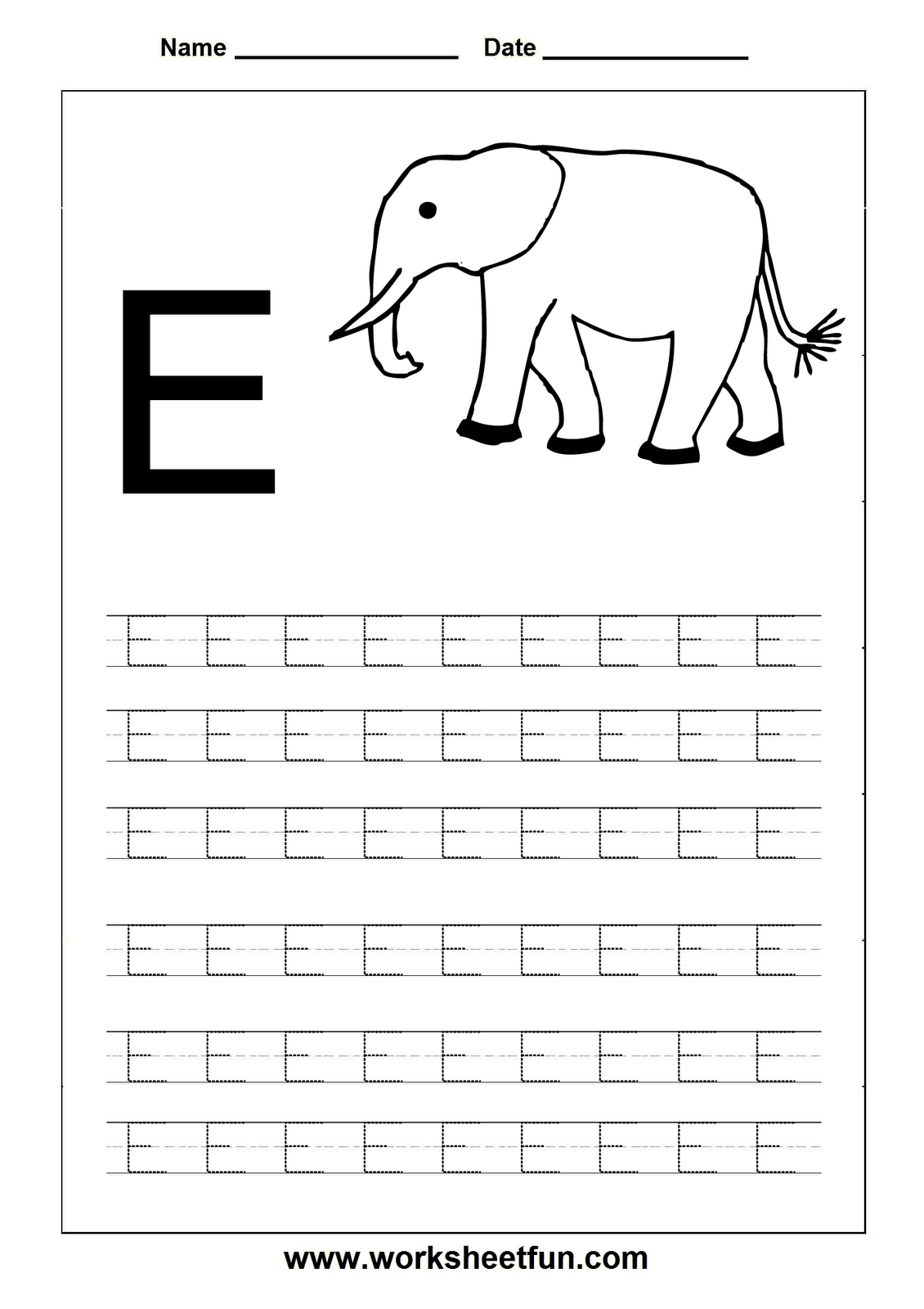 Free Printable Worksheets - Contents | Letter E Worksheets