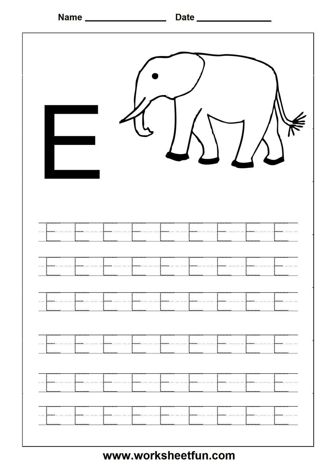 Free Printable Worksheets - Contents | Letter E Worksheets