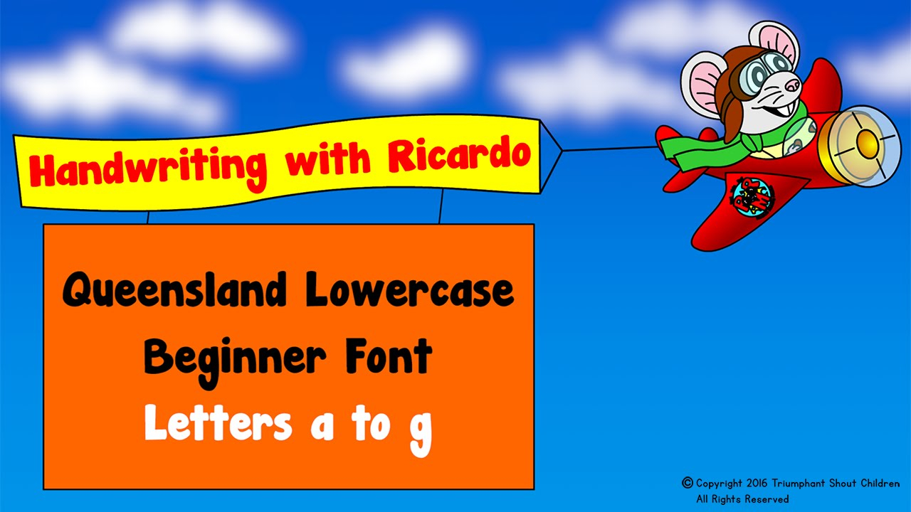 Handwriting Is Fun: Lowercase Letters A To G With Ricardo's Stunt Plane -  Queensland Beginner Font