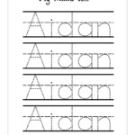 Handwriting Practice With Trace Name Worksheets | Activity