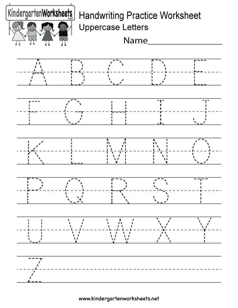 Handwriting Practice Worksheet - Free Kindergarten English