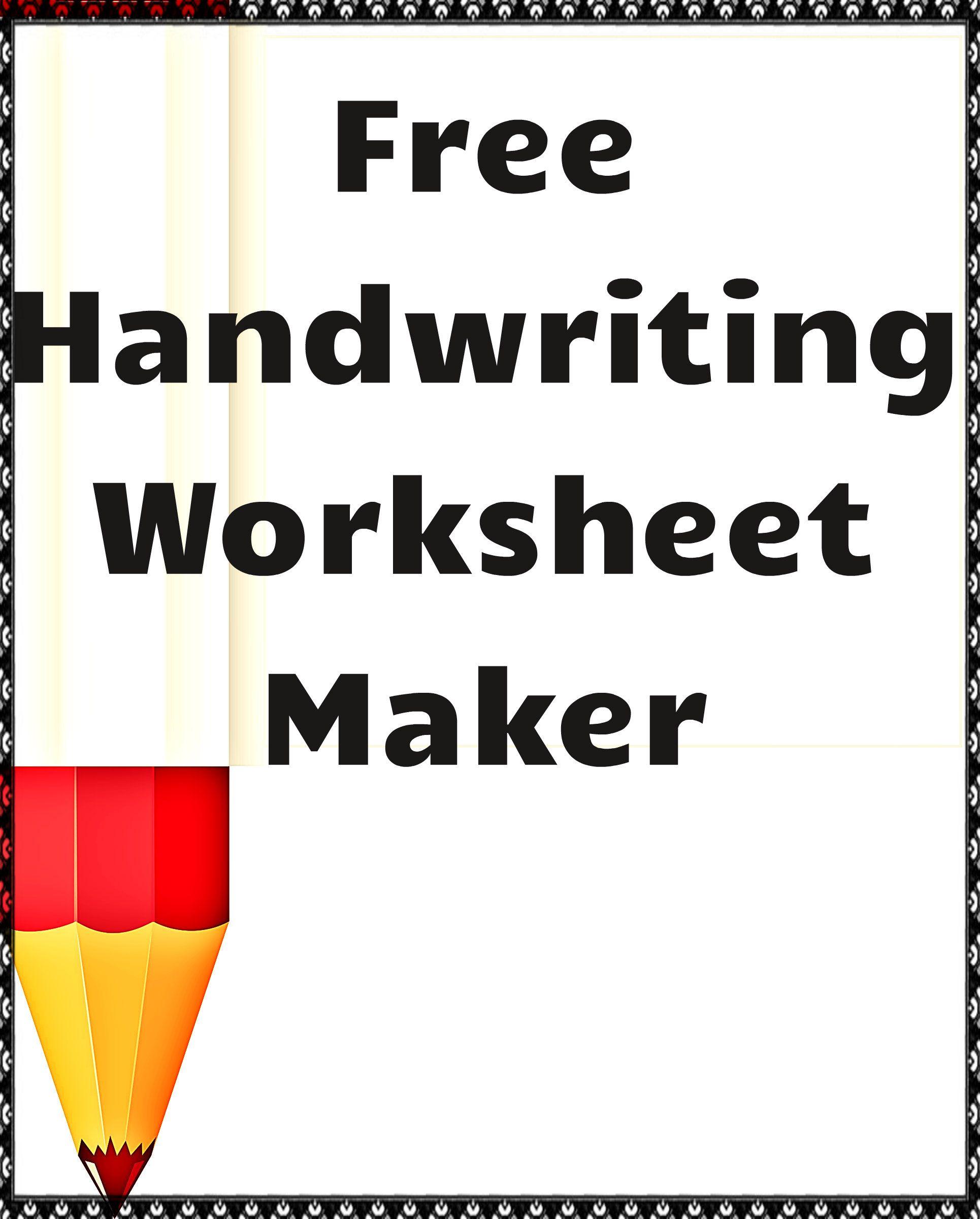 Handwriting Worksheet Maker | Handwriting Worksheet Maker