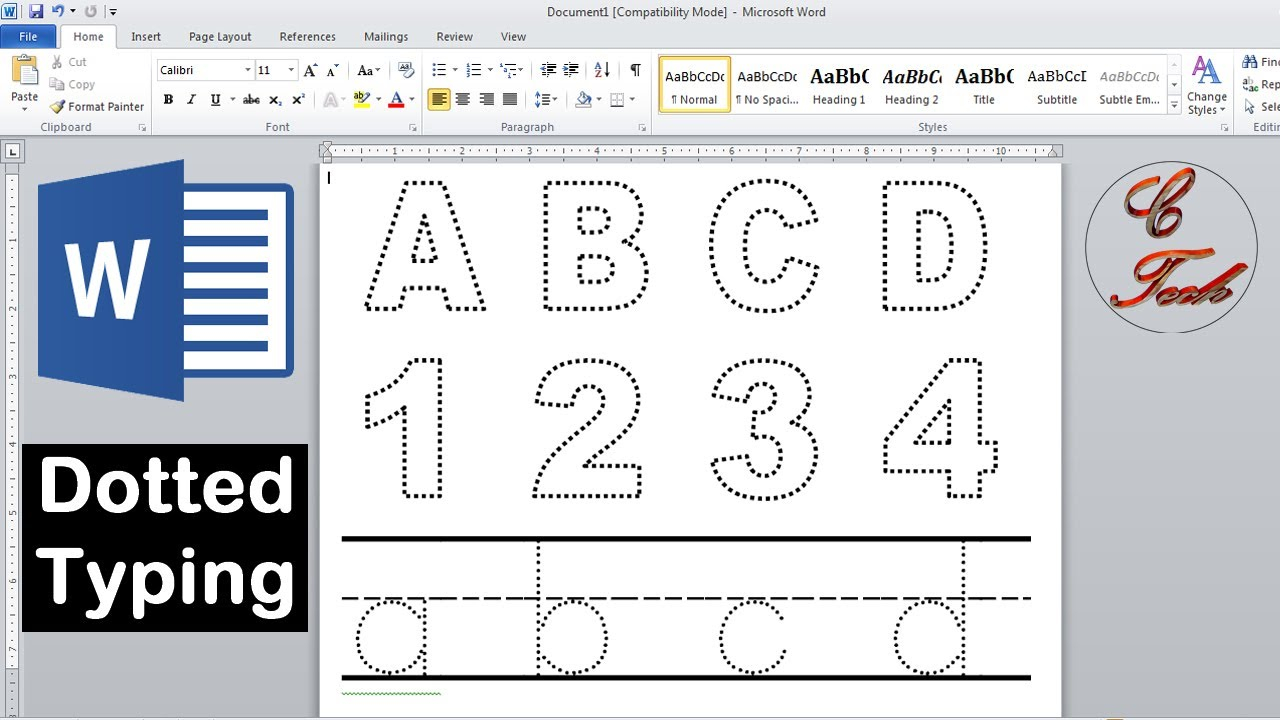 How To Make Dotted Typing Design In Microsoft Word