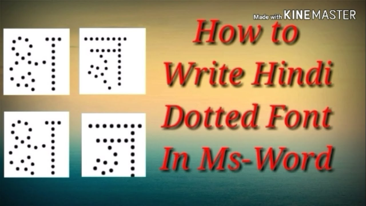 How To Write Hindi Dotted Font In Ms Word Office Tutorial
